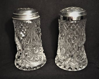 Sugar Shaker, Muffineer, Caster, Pressed Glass Shakers by Imperial Glass, 1950, Cheese Shaker, Star/Diamond Design, Signed on Base.
