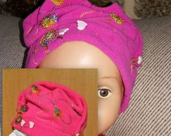 hats fuschia embroidered baby fleece hats