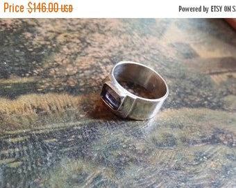 Holiday SALE 85 % OFF Vintage Estate 1940s Solitaire Amethyst Ring 925 Sterling Silver  Size 8.5