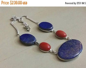 Holiday SALE 85 % OFF Red Coral Lapis Lazuli Necklace .925 Sterling  Silver  Gemstone