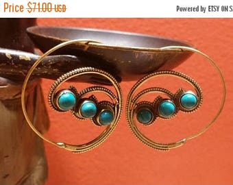 Holiday SALE 85 % OFF Golden Brass Turquoise  Gemstone Hoops Earrings