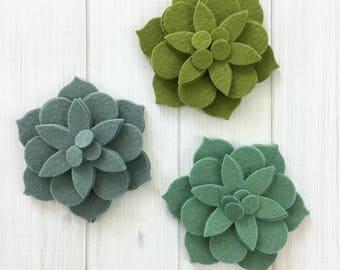 Fancy Flower Layers, 12 pieces - Felt Flowers, Felt Succulents, Die Cut Shapes, Felt Applique, Felt Precuts