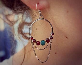 Gypsy Earring, Turquoise Carnelian Earring, Gemstone Earring, Festival Jewelry, Gemstone Hoop Earring, Dangling Earring, Hippie Earring