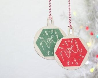 Geometric Christmas Decoration, Wooden bauble, Scandi tree ornament, Christmas Decor, Hanging ornament