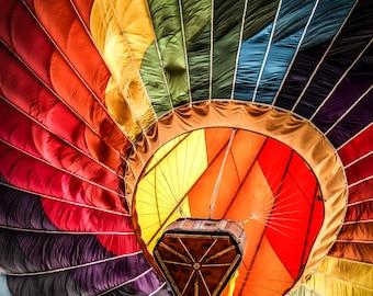 "Wall Art ""Vibrant Rainbow"", Hot Air Balloon, Colorful"