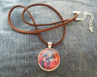 Custome Glass Pendant Necklace: Calm