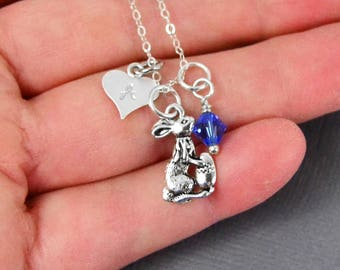 Easter Bunny Necklace, Sterling Silver, Initial Necklace, Girls Initial Necklace, Easter Jewelry, Custom Necklace, Personalized