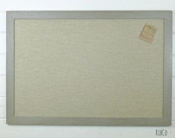 Extra Large Pinboard / Noticeboard with rustic linen backing and French Linen Grey chalk frame