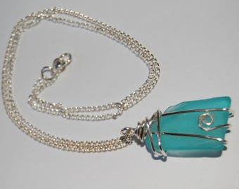 Wire wrapped aqua tumbled glass necklace