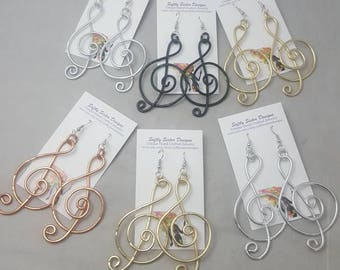 Treble Clef Earrings, Colored Wire Earrings, Wire Wrapped Earrings, Aluminum Wire Earrings, Dangle Earrings, Music Note Jewelry,
