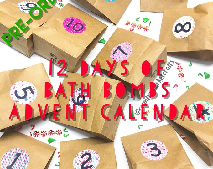 Featured listing image: 12 Days of Bath Bombs - Advent Calender Christmas Countdown Gift Set - Sampler