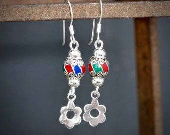Silver Earrings, Enamel Earrings, Silver Drops, Sterling Silver Earrings,