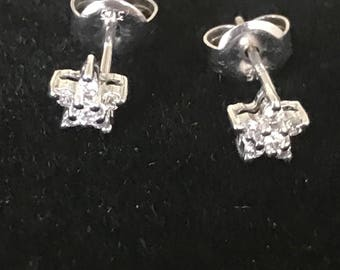 A Diamond Pair Of Flowerhead Earrings, 9k Gold