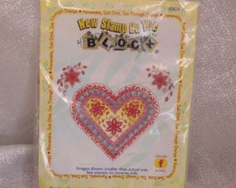 Heart and Flower Stamps by New Stamp on the Block for Scrapbooking or Card Making Altered Art
