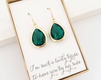 Emerald Gold Teardrop Earrings, Bridesmaid Gift Jewelry, Dark Green Bridesmaid Earrings, Green Gold Earrings, Green Earrings, Gold Emerald