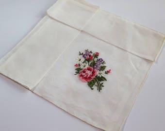 Vintage Handkerchief Hand Embroidered in Petit Point, Rose Bouquet, Fine Cotton Organdy