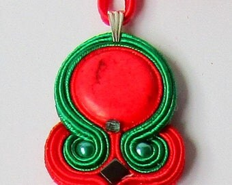 Pendant soutache Red - Green