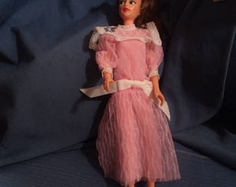 Vintage Doll Clothes Misty Tressy Clothing Pink Dress White trim