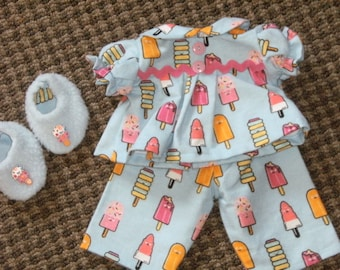 "16"" Cabbage Patch Doll Clothes~3 pc. Popsicles/Ice Cream Pajamas/PJ's with Slippers"