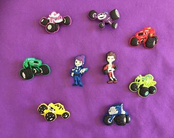 9-pc Blaze and the Monster Machines Shoe Charms for Crocs, Silicone Bracelet Charms, Party Favors, Jibbitz