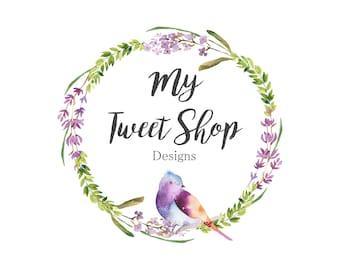 Bird logo-wreath logo-Flower Logo-Nature Logo-Spring logo-Etsy Logo-Photography Logo-Small Business Logo-Branding