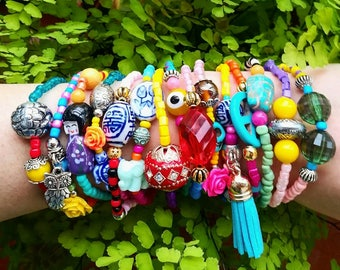 15 Boho Chic Bracelets - stretch bracelets - layered jewelry - bohemian bracelet - unique jewelry - one of a kind - peace sign - christmas