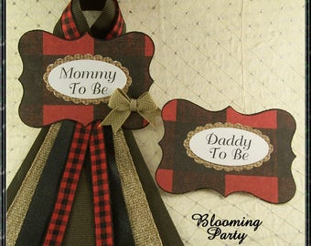 Lumber Jack Baby Shower Corsages Camping Mommy To Be and Daddy To Be Wilderness Baby Shower Buffalo Plaid Mommy To Be Badge