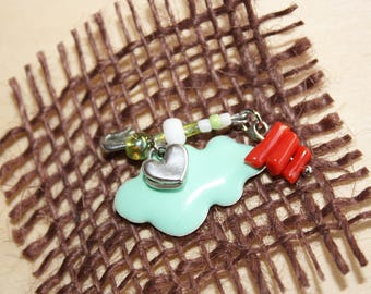 """Brooch """"Coral lucky"""" birth baby green water"""
