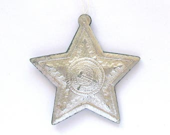 Soviet Christmas tree ornament, USSR Star, Hammer and Sickle, Cardboard ornament, Paper, New Year, Russian Toy, USSR, Soviet Union, 1960s