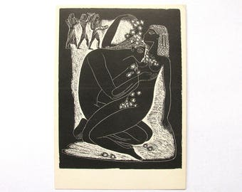 The Song of Songs, Postcard with illustration by Stasys Krasauskas, Etching, Woman, Unused Postcard, Soviet Vintage Postcard, USSR, 1975