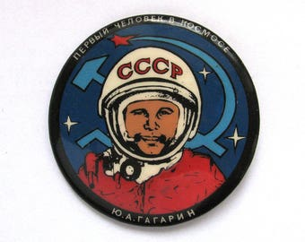 Cosmonaut Yuri Gagarin, Badge, Space, Cosmos, Rare Soviet Vintage plastic collectible pin, Made in USSR, 1980s