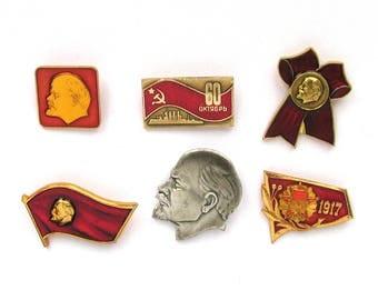 Soviet Badges, Pick from Set, Communism, October Revolution, 1917, Lenin, Rare Vintage collectible badge, Pin, Soviet Union, Made in USSR
