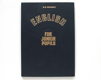 English for junior pupils, Educational book for children, Textbook, Schoolbook,  Soviet Vintage Children's Book, Soviet Union, USSR, 1982