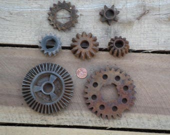 7 Rusty crusty metal gears industrial assemblage steampunk