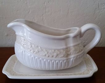 Vintage Gravy Boat, Gravy Boat With Under Plate, Signature, Lourdes, Gravy Boat With Under Plate.