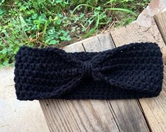 Black crochet ear warmer headband