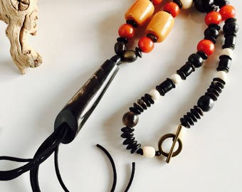 Africa Inspired Long Black Bone Tassel Necklace