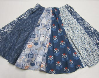 Girls Woodland Twirly skirt in Grays and Blues Sizes  6  7