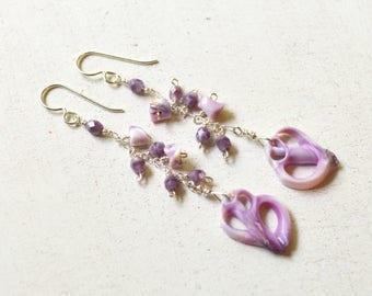 Dangling Shell Earrings, Beaded Chain Earrings, Purple Shell Earrings, Cebu Shell Earrings