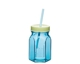 Glass jar with lid and straw 350 ml blue