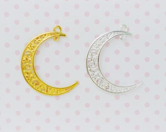 39mm Kawaii Gold or Silver Filigree Crescent Moon Magical Girl Pendant Charm - set of 5