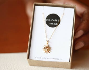 Sun Necklace, Tiny Necklace, Gold Sun Necklace, Necklace Gold, Sun Charm, Layered Necklace, Tiny Necklaces, Gold Necklace, Sun Pendant
