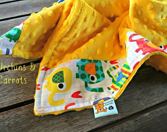 Waterproof Elephant Change Mat made with Yellow Minky and Cotton, Handmade in Perth, WA