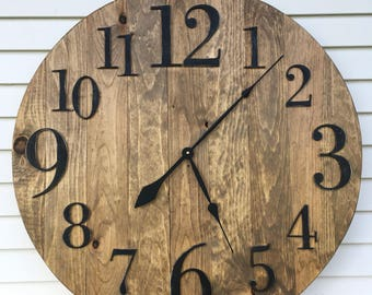 Wood Clock Rustic Reclaimed Wooden Clock--4 sizes!