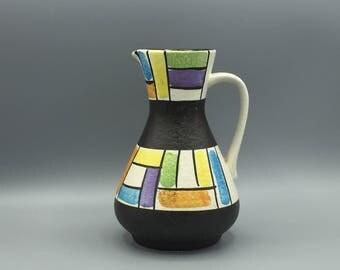 """Jasba Keramik  218 - 18  Vintage Mid Century  1960s ceramic vase, like ,,Mondriaan""""   -   West Germany Pottery WGP."""