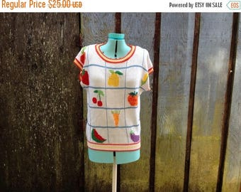 HALF OFF Closing Sale Vintage sweater shirt | 1980s pull over novelty top | fruit