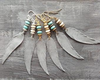Grey feather earrings. Leather feather earrings. Gemstone beaded earrings. Long drop earrings. Boho earrings. Bohemian earrings. Boho chic.