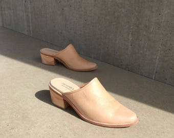 Tan Leather Mule Size 6, Pale Pink Leather Pointed Mules Clogs, US Sizes 6 Made in USA, Handmade Leather Mules Made in USA