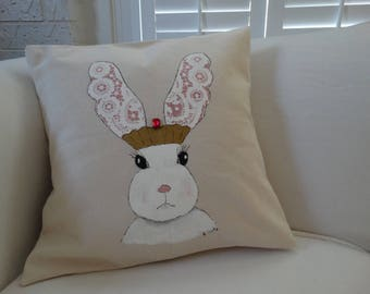 Bunny Pillow Sham , quirky, cute, Shabby cottage Decor, girls room