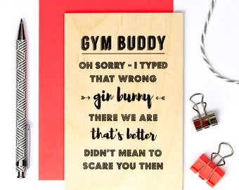 Wooden Birthday Card For Gin Loving Friends; Keepsake Desk Card; Funny Wooden Card; Wood Card; Friendship Card; Gin; GC635